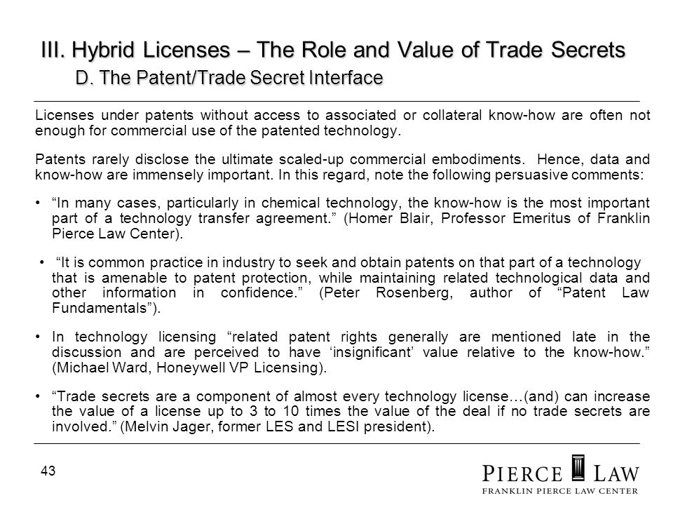 III. Hybrid Licenses – The Role and Value of Trade Secrets. D