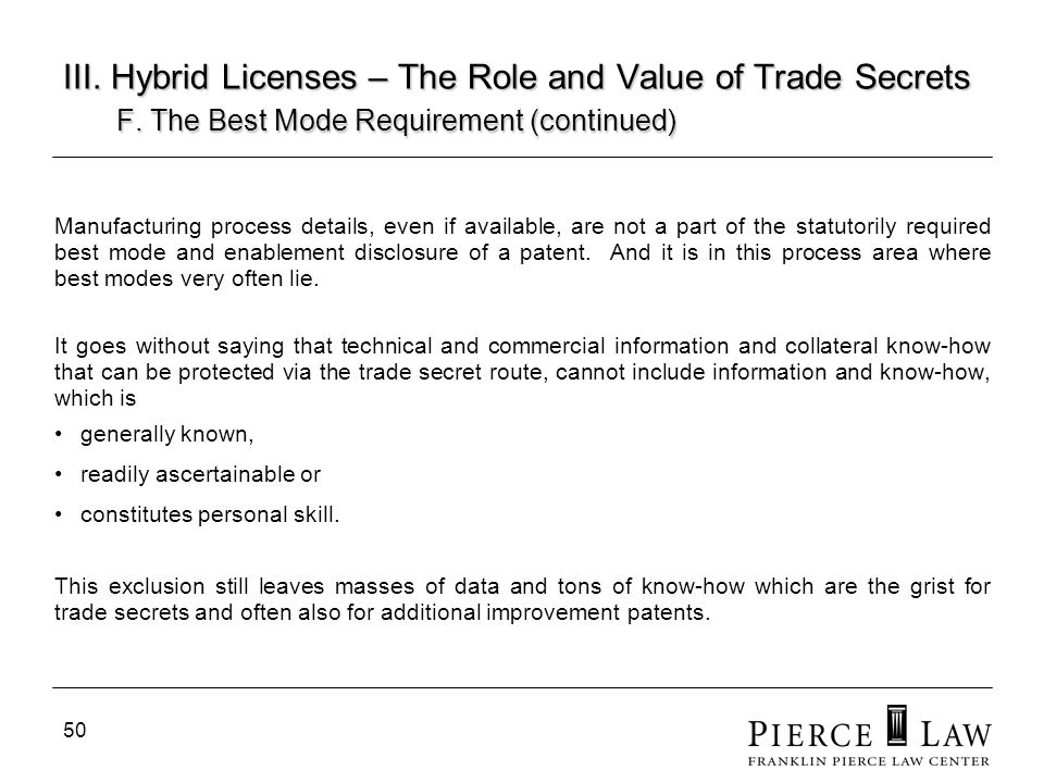 III. Hybrid Licenses – The Role and Value of Trade Secrets. F