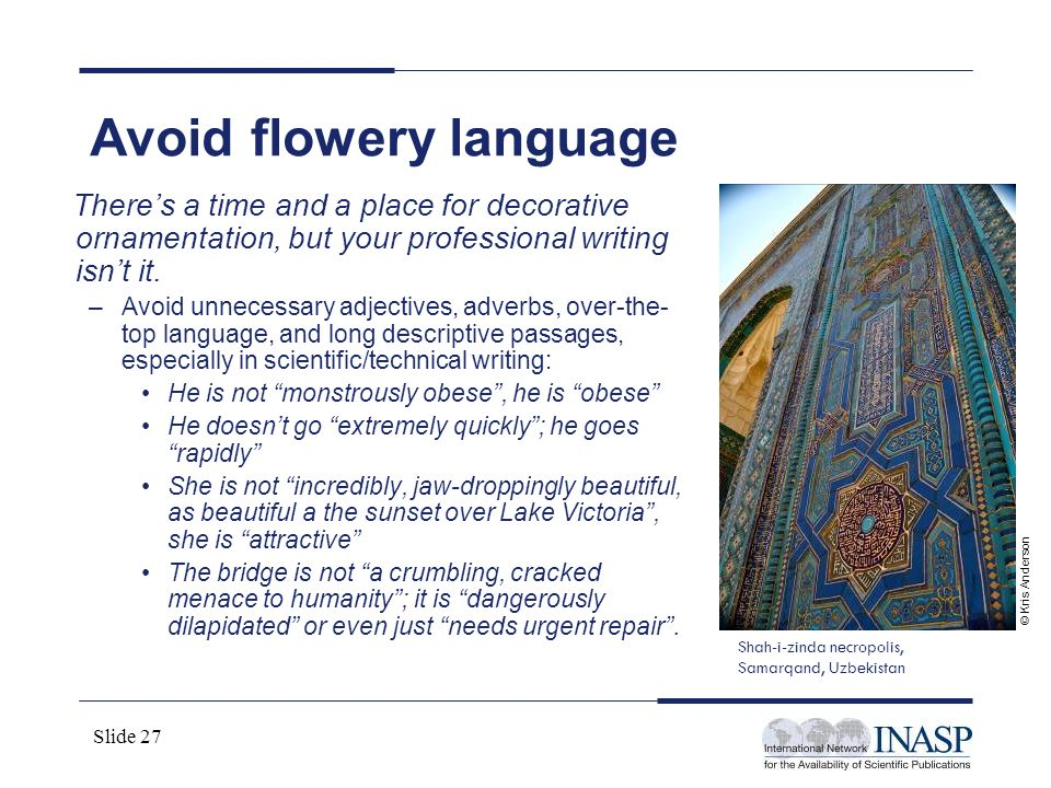 Avoid flowery language