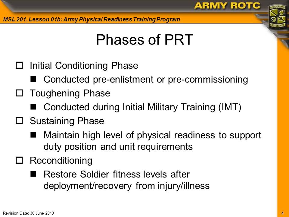 Physical Readiness Training Program - ppt video online download