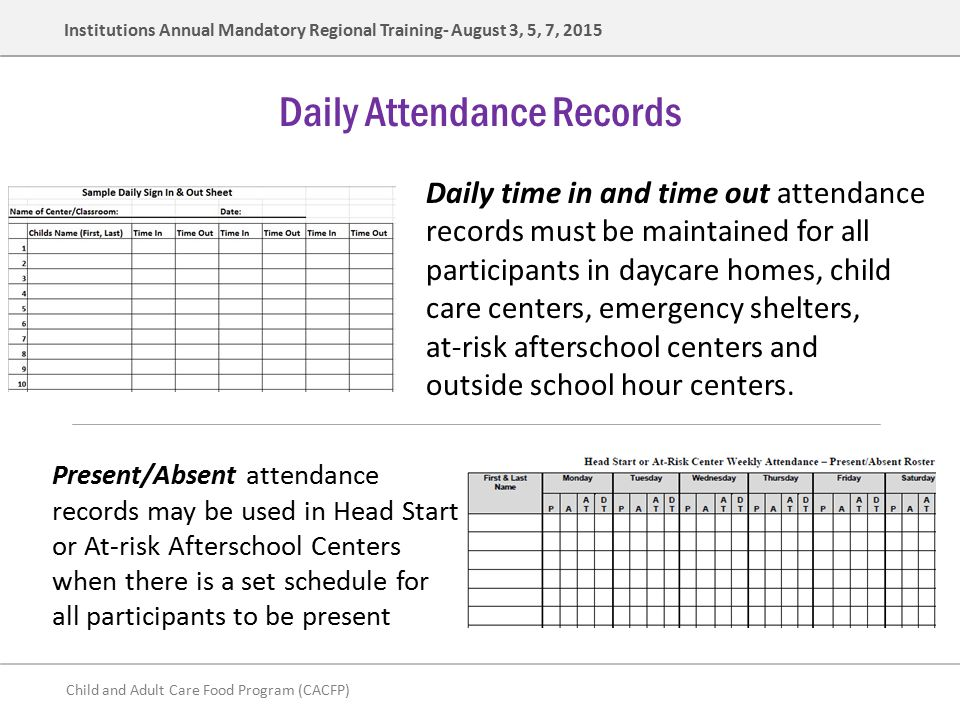 daily attendance sheet for daycare