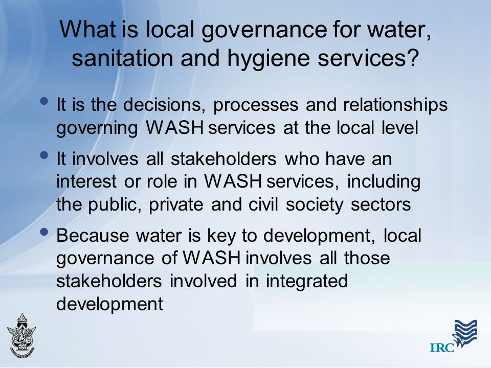 What is local governance for water, sanitation and hygiene services