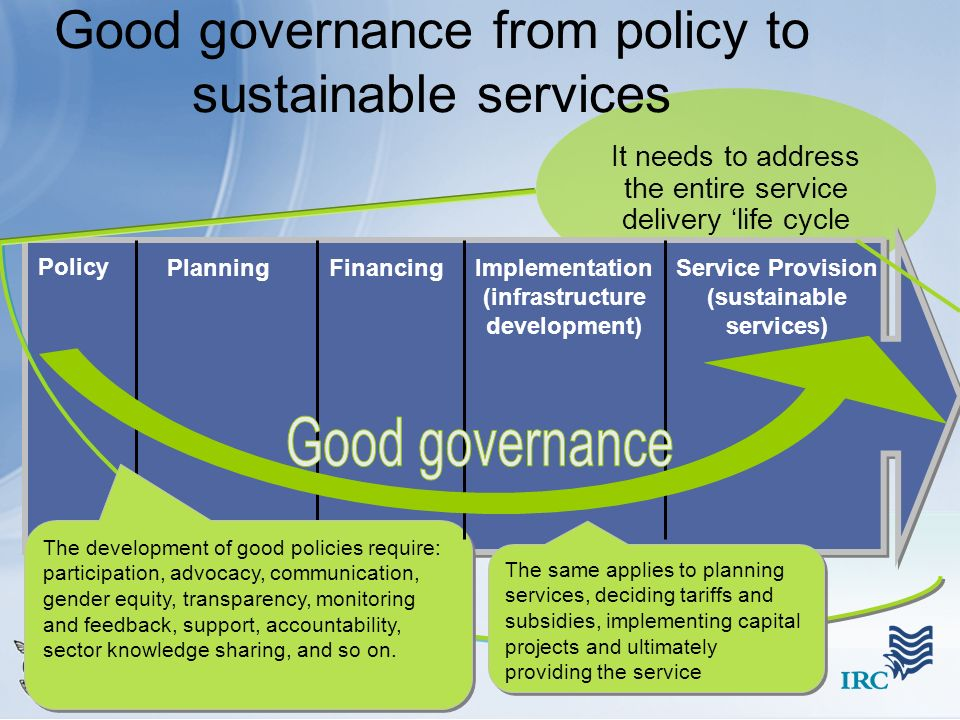 Good governance from policy to sustainable services