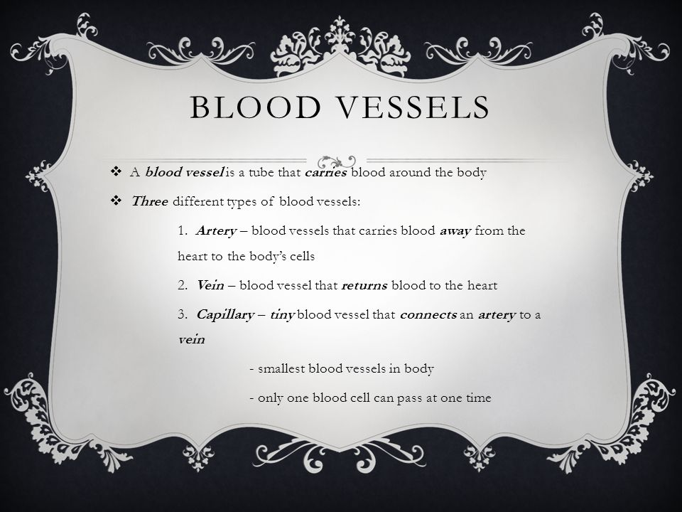 Blood vessels A blood vessel is a tube that carries blood around the body. Three different types of blood vessels: