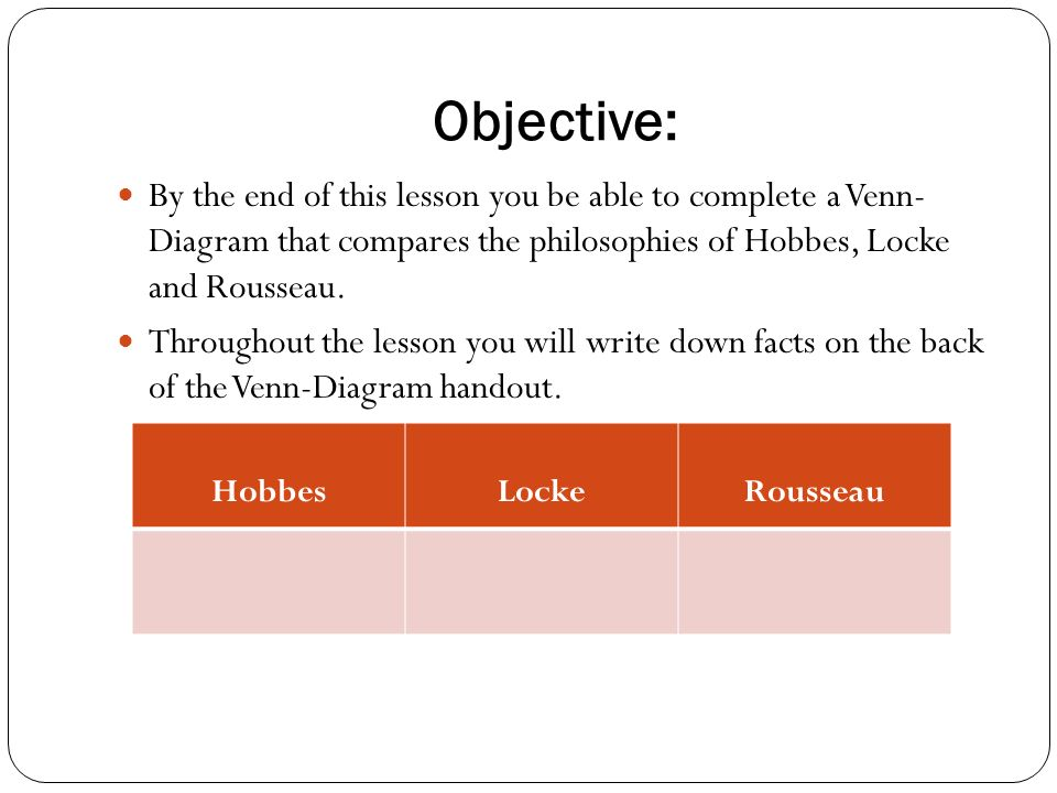 hobbes locke rousseau objective by the end of this lesson you be able to complete a venn