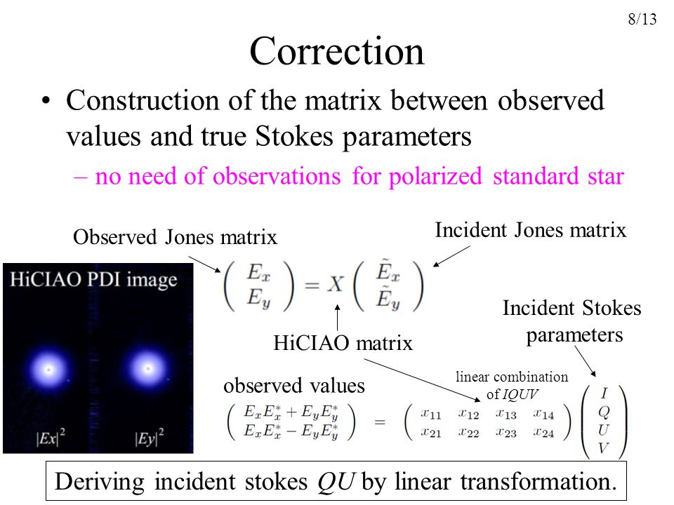 Deriving incident stokes QU by linear transformation.