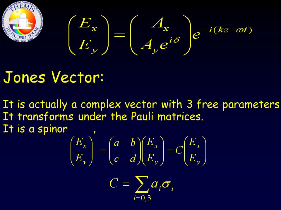 Jones Vector: It is actually a complex vector with 3 free parameters