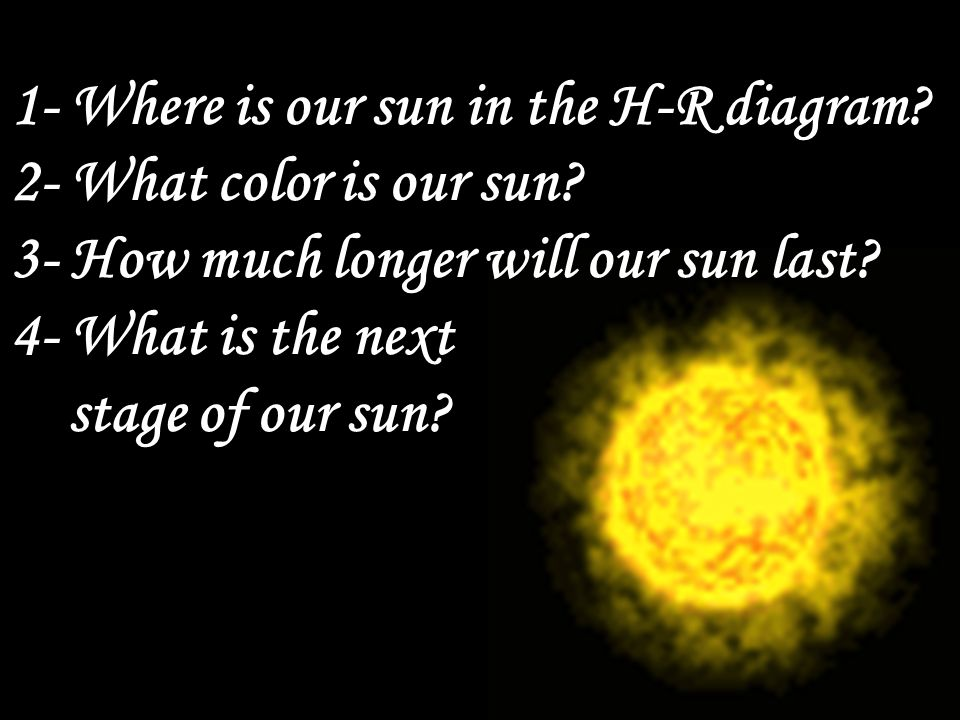 1 Where Is Our Sun In The H R Diagram 2 What Color Is Our Sun
