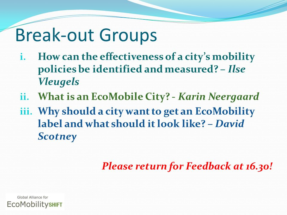 Break-out Groups How can the effectiveness of a city's mobility policies be identified and measured – Ilse Vleugels.