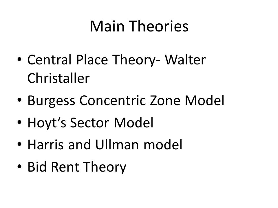 Main Theories Central Place Theory- Walter Christaller