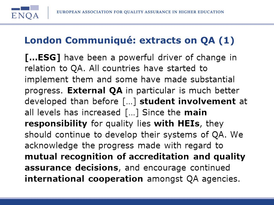 London Communiqué: extracts on QA (1)