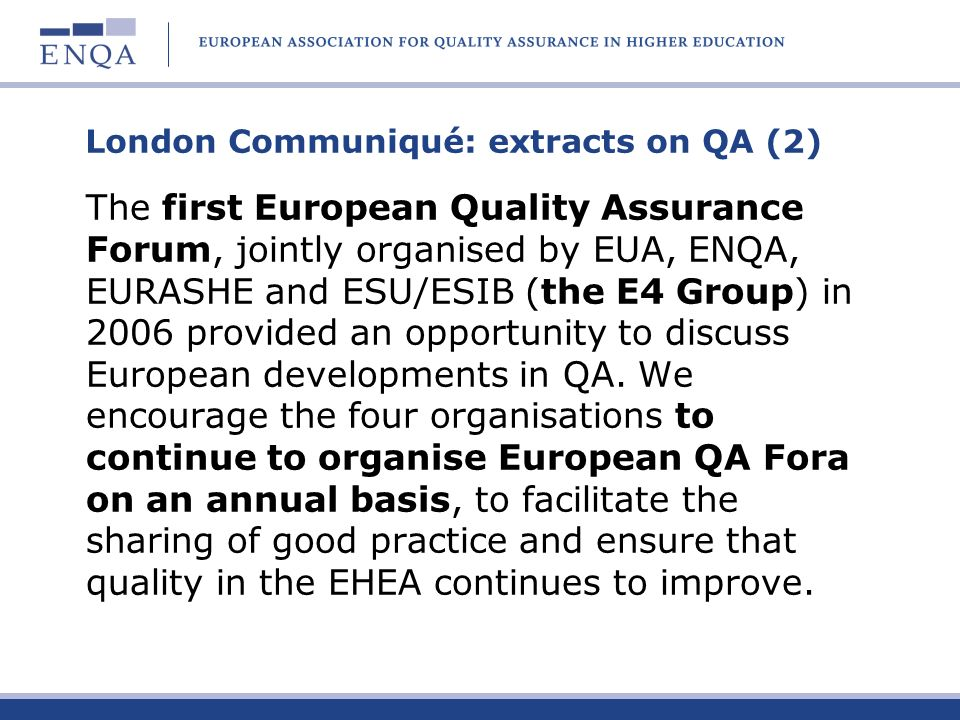London Communiqué: extracts on QA (2)