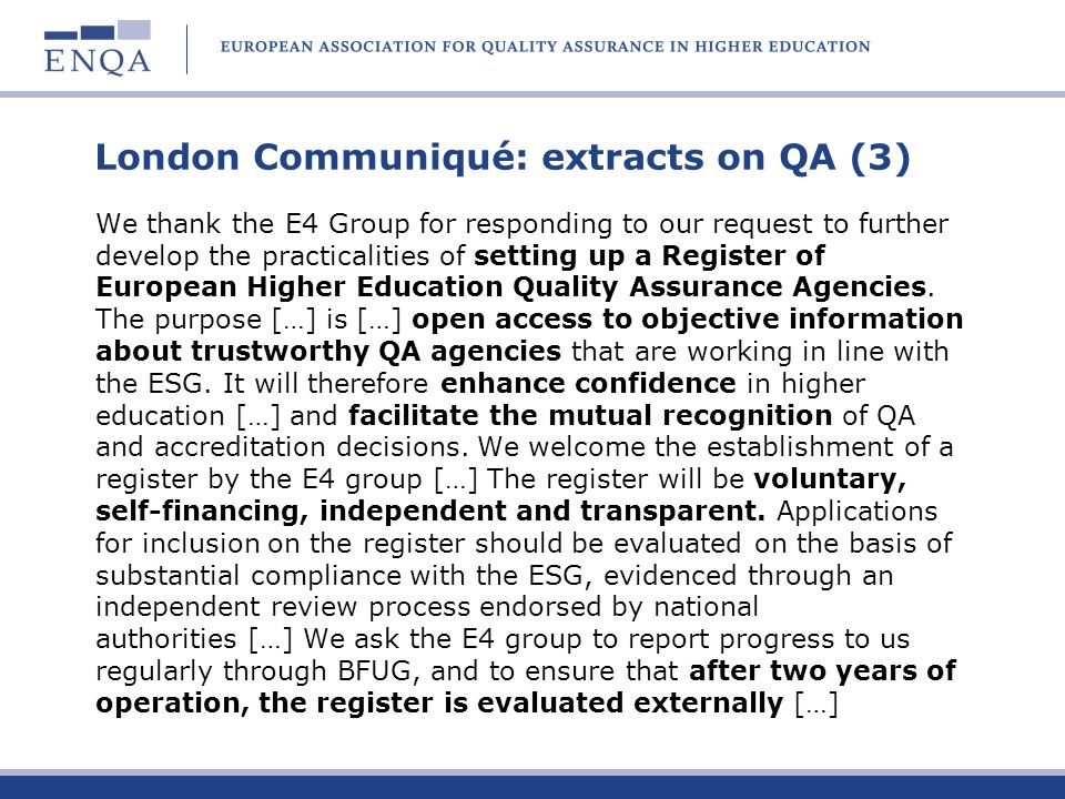 London Communiqué: extracts on QA (3)