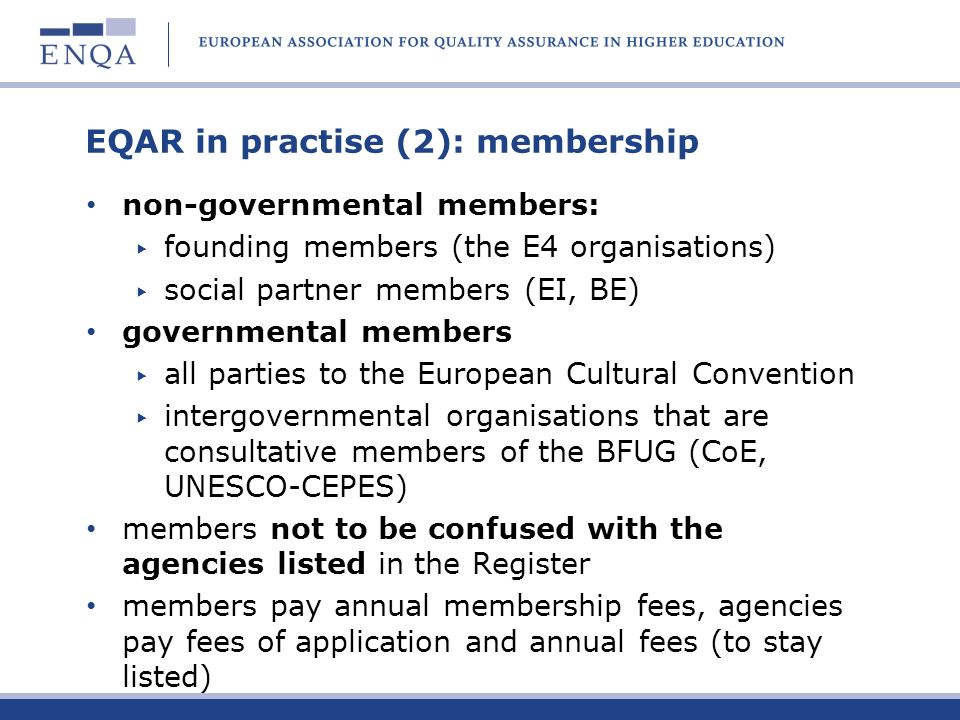 EQAR in practise (2): membership
