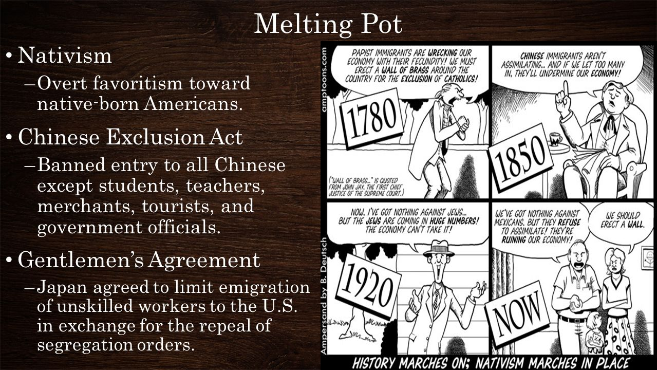 Melting Pot Nativism Chinese Exclusion Act Gentlemen's Agreement