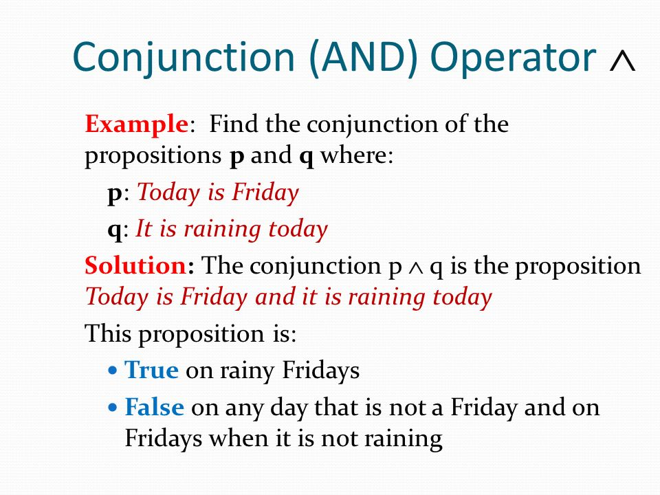 Conjunction (AND) Operator 