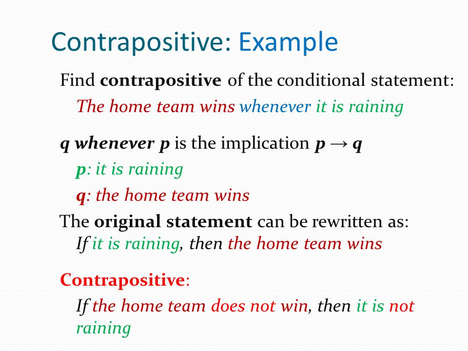 Contrapositive: Example