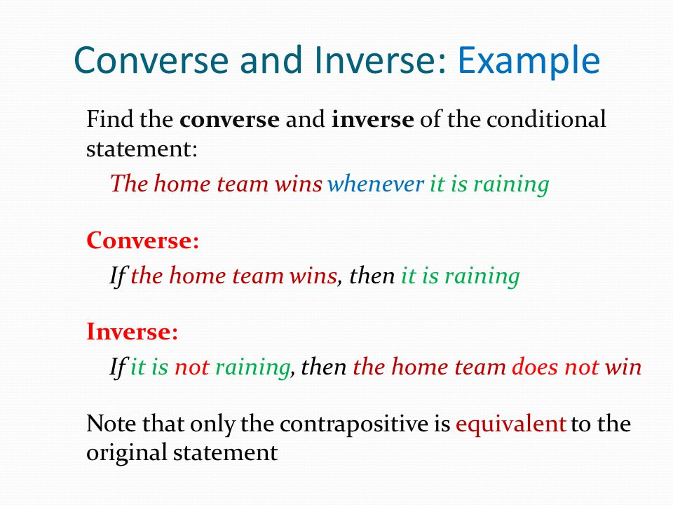 Converse and Inverse: Example