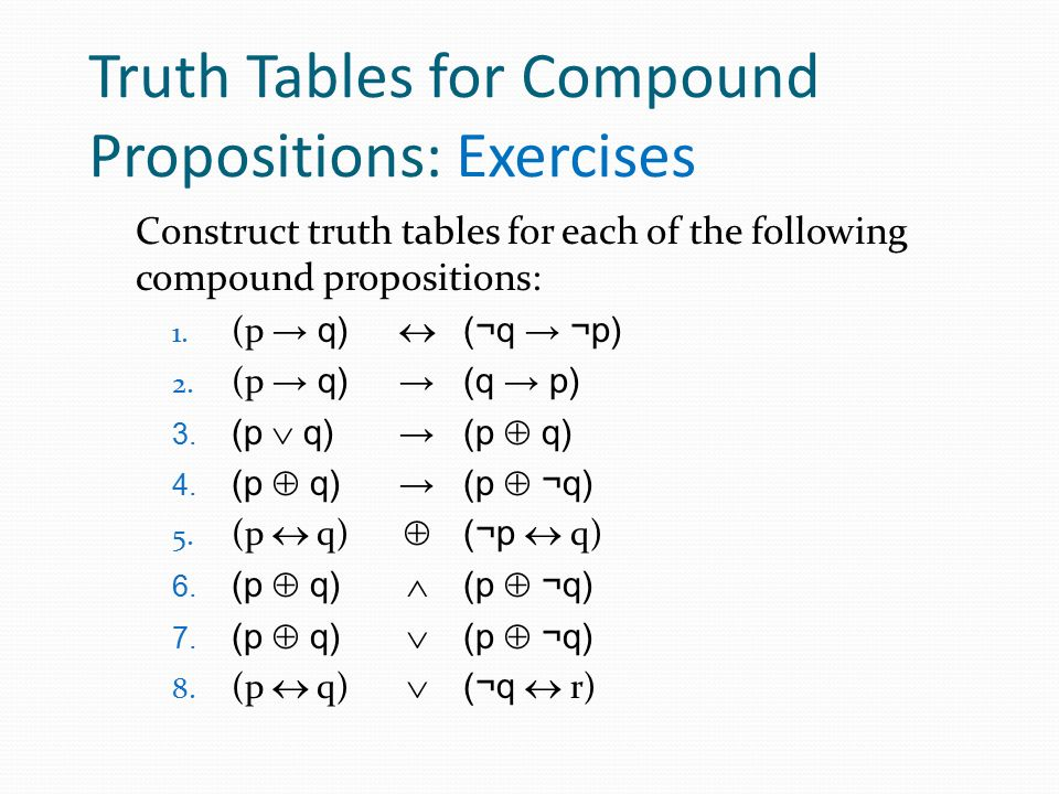 Truth Tables for Compound Propositions: Exercises