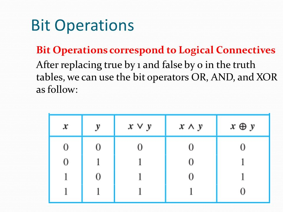 Bit Operations Bit Operations correspond to Logical Connectives