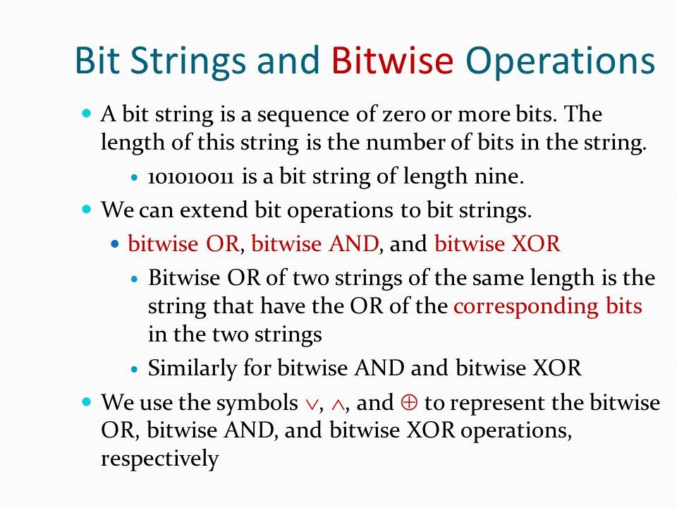 Bit Strings and Bitwise Operations