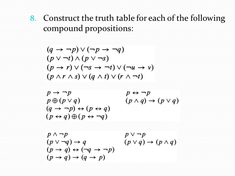Construct the truth table for each of the following compound propositions: