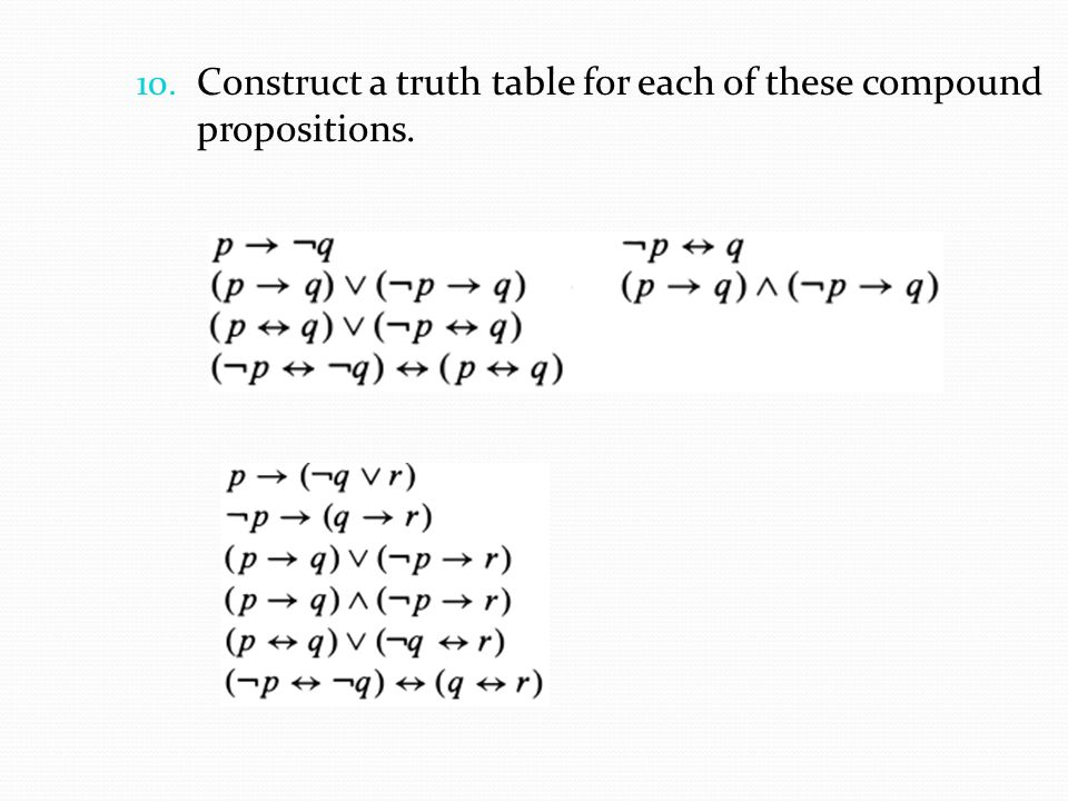 Construct a truth table for each of these compound propositions.
