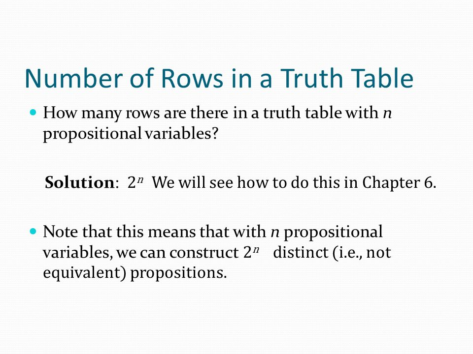 Number of Rows in a Truth Table
