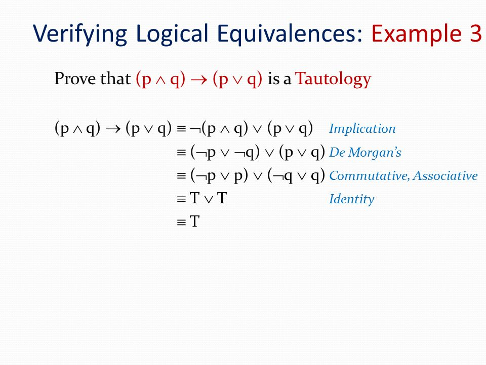Verifying Logical Equivalences: Example 3