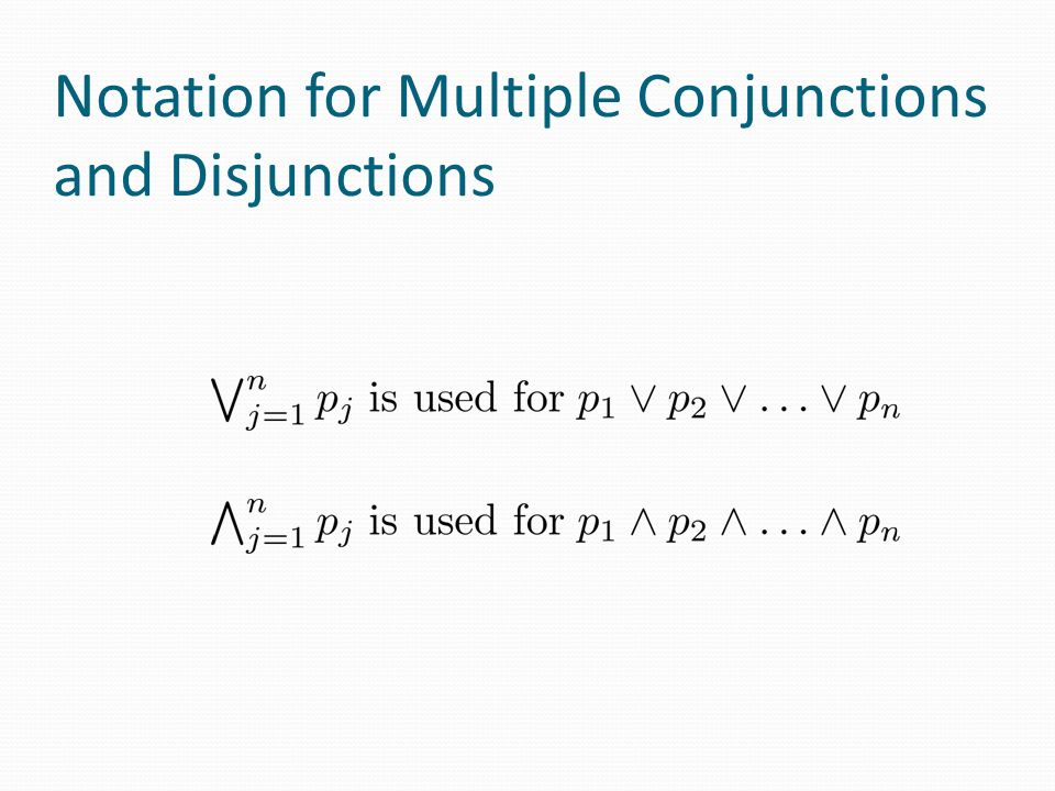 Notation for Multiple Conjunctions and Disjunctions