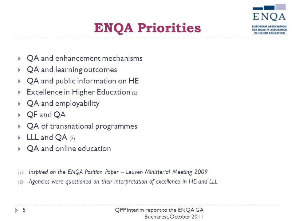 ENQA Priorities QA and enhancement mechanisms QA and learning outcomes