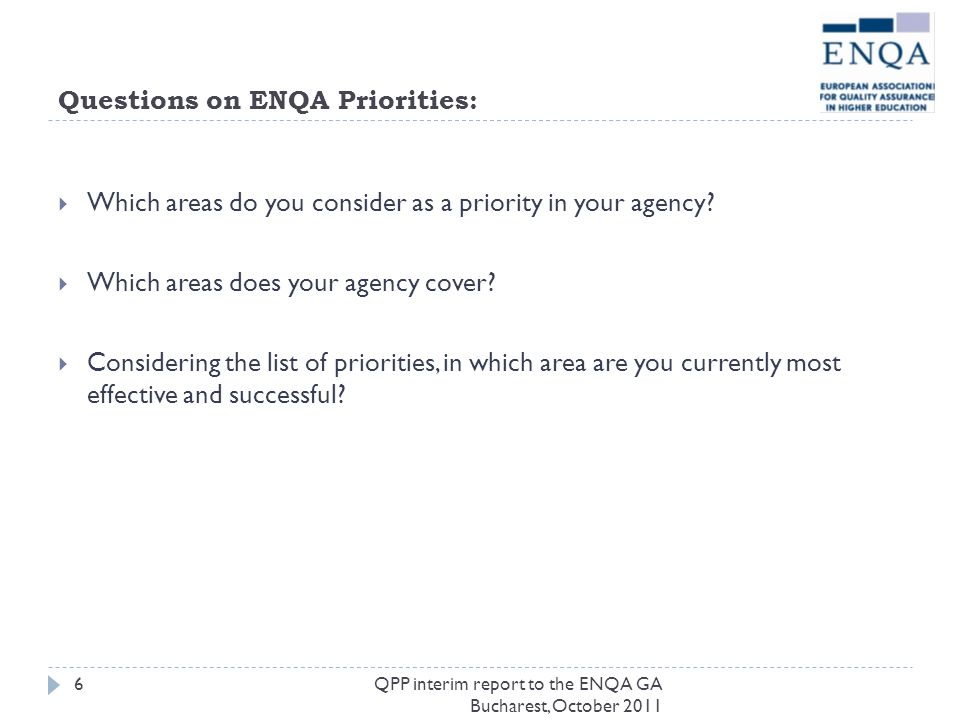 Questions on ENQA Priorities: