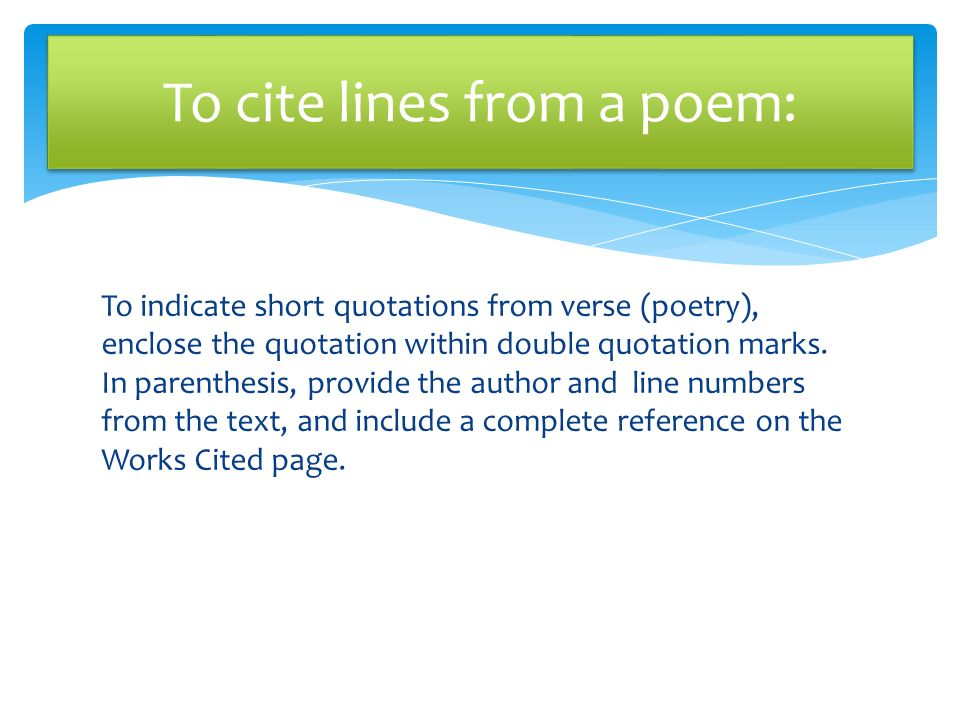 In Text Citation Mla Format Poem - MLA In Text Citation ...