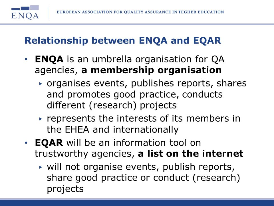 Relationship between ENQA and EQAR