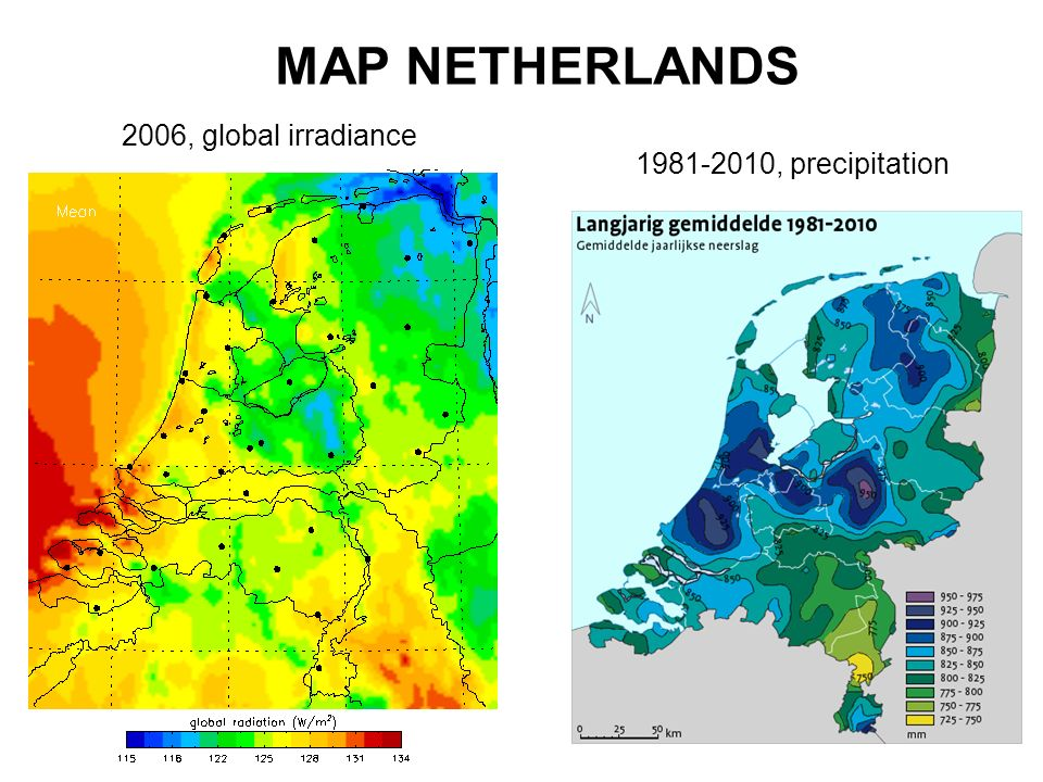MAP NETHERLANDS 2006, global irradiance 1981-2010, precipitation