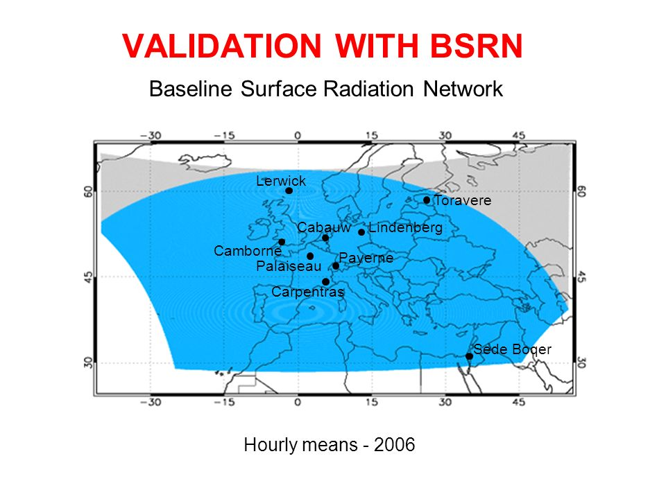 VALIDATION WITH BSRN Baseline Surface Radiation Network