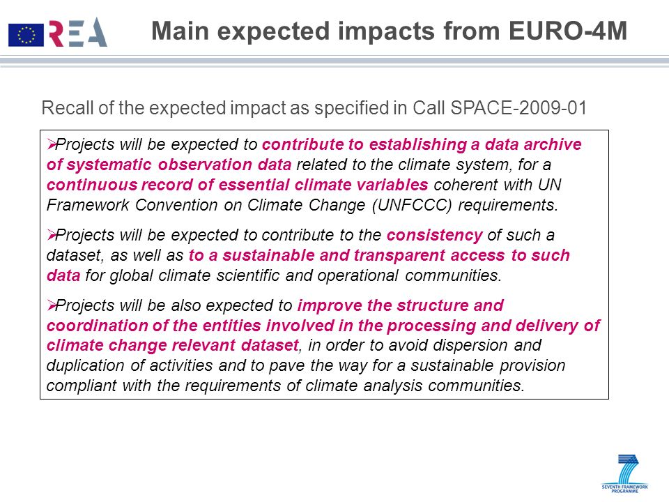 Main expected impacts from EURO-4M