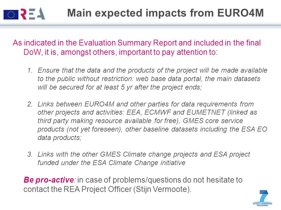 Main expected impacts from EURO4M