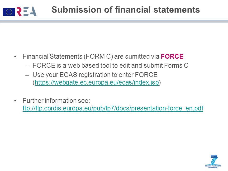 Submission of financial statements