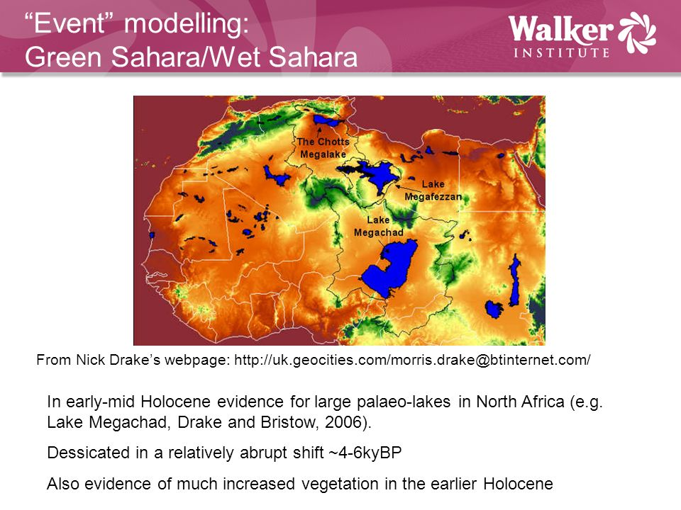 Event modelling: Green Sahara/Wet Sahara