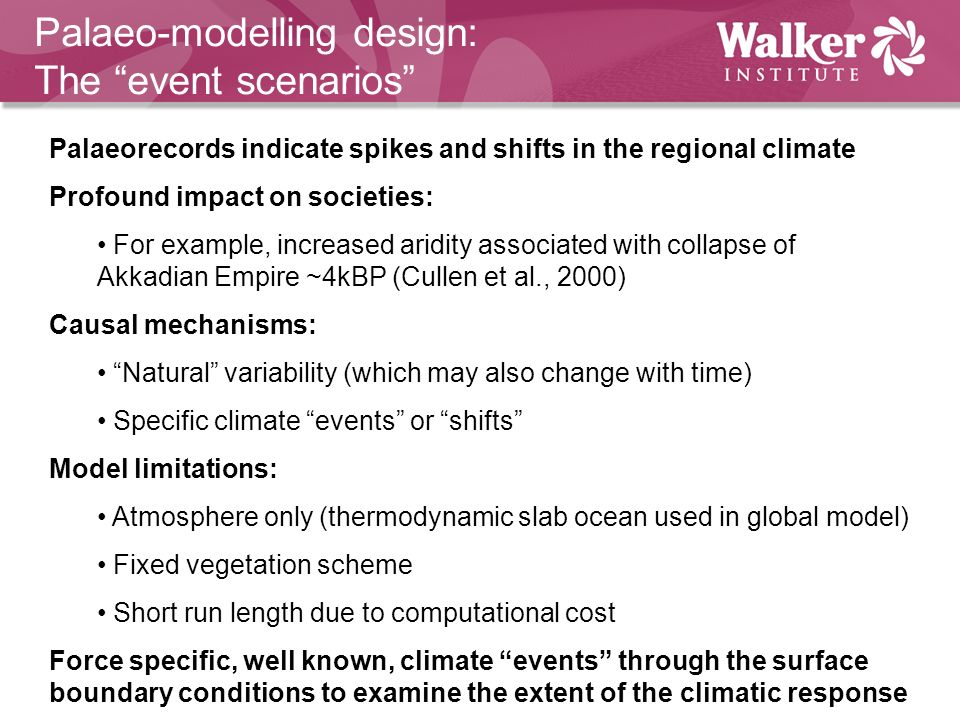 Palaeo-modelling design: The event scenarios