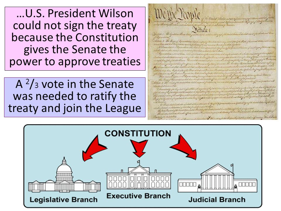 …U.S. President Wilson could not sign the treaty because the Constitution gives the Senate the power to approve treaties