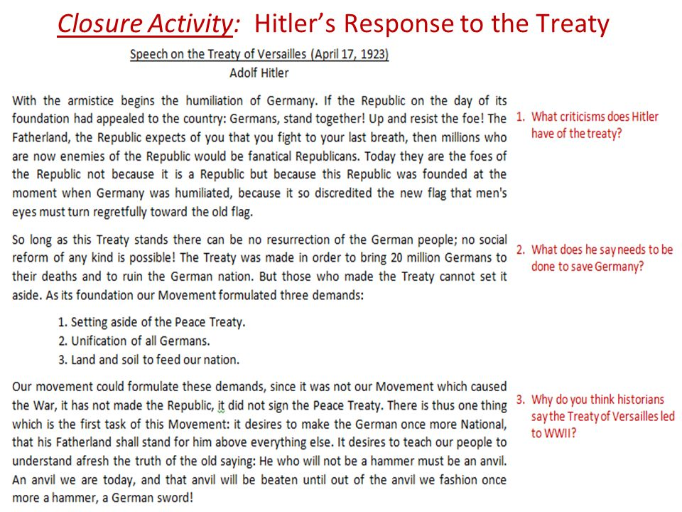 Closure Activity: Hitler's Response to the Treaty