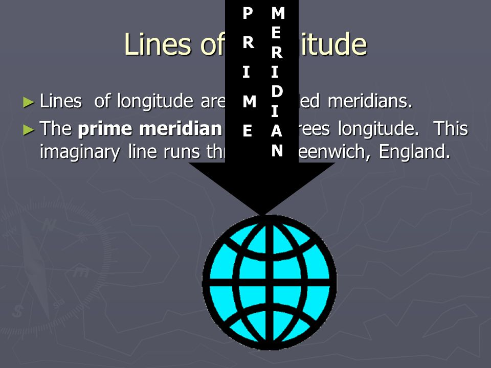 Lines of Longitude Lines of longitude are also called meridians.