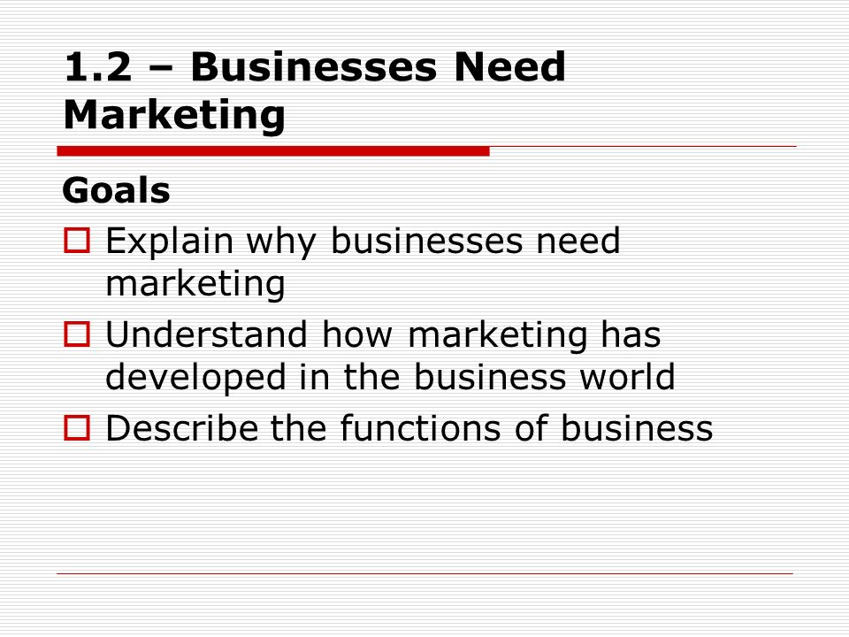 1.2 – Businesses Need Marketing