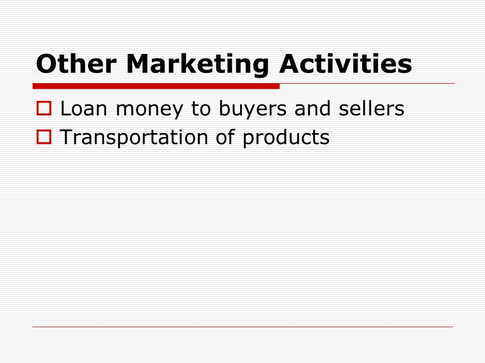 Other Marketing Activities