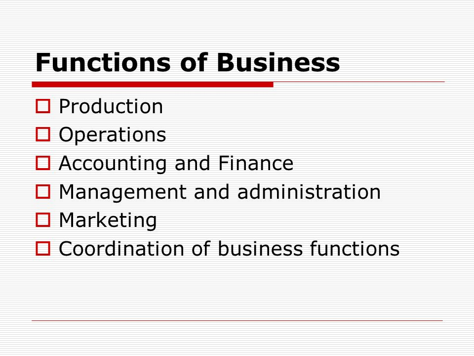 Functions of Business Production Operations Accounting and Finance