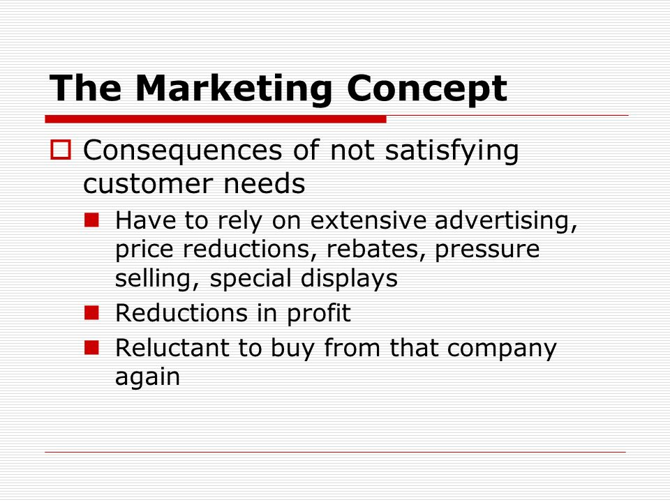 The Marketing Concept Consequences of not satisfying customer needs