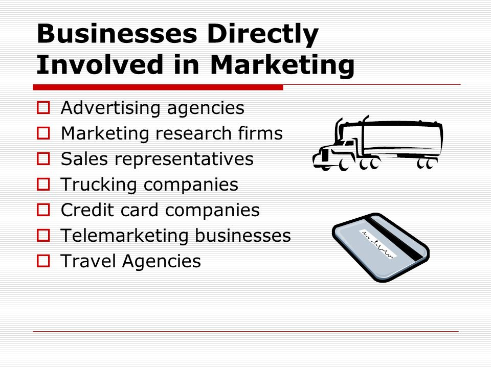 Businesses Directly Involved in Marketing