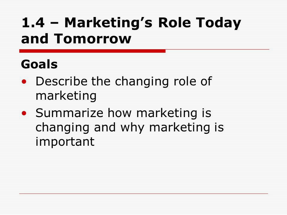 1.4 – Marketing's Role Today and Tomorrow